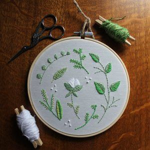 Botanical Hand Embroidered Textile Art
